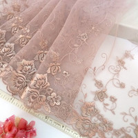 Lace trim, embroidered tulle trim, embroidered net trim, floral trim, Rosy Brown, 2 yards BN100