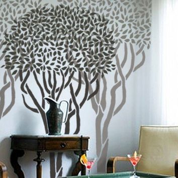 Large Topiary TREE OVER 6 ft tall Wall by OliveLeafStencils