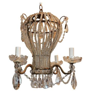 Wonderful Vintage Italy Gilt Beaded Crystal Hot Air Balloon Chandelier Fixture