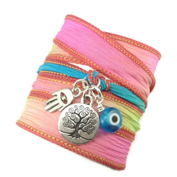 Neon Silk Wrap Bracelet with Protection Charms by charmeddesign1012