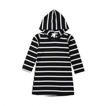 New Toddler Kids Baby Girl Long Sleeve Striped Hooded Dress Cotton Soft Kids Casual Outfits 6M to 5Y