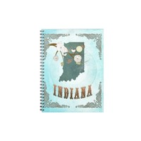 Indiana Map With Lovely Birds Spiral Notebooks