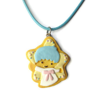 Sanrio Little Twin Stars butter cookie necklace, kiki charm, food jewelry, for girls