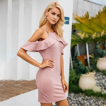 Strap Cold Shoulder Ruffle Backless Split Elegant Dress