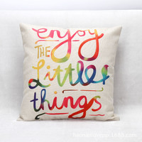 "18"" Customized Colorful Decor Throw Pillow Simple Text Square Cushion Cover"