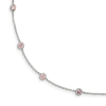 Sterling Silver Pink CZ Necklace QG2649