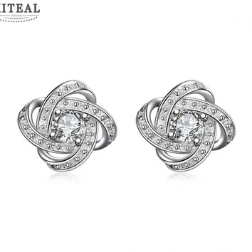 Silver Plated Floral Stud Earrings With Cubic Zirconia Flash Diamond #108
