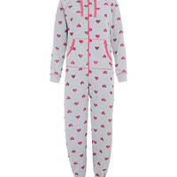 Grey and Pink Heart Print Heavyweight Onesuit