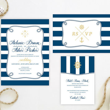 Nautical Wedding Invitation Sets Printed | Sea theme wedding invitations | Royal blue and gold marriage invites | Beach wedding invitations