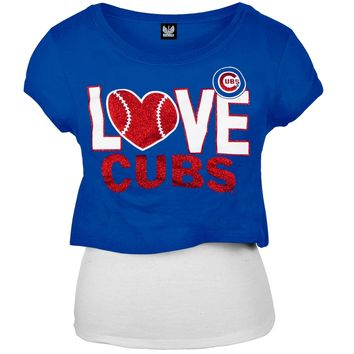 Chicago Cubs -Glitter Love Girls Juvy T-Shirt w/Tank - Juvy