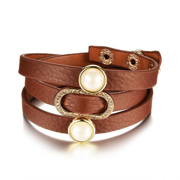 Women's Black/Brown Leather Wrap Bracelets w/ Simulated Pearl Accent