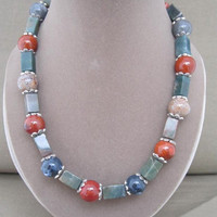 Chunky Beaded Strand Southwestern Colors Necklace