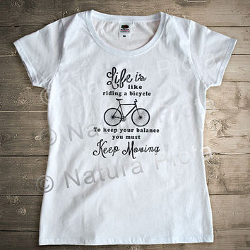 Life is like riding a bicycle Einsten quote Tshirt-vintage bicycle t-shirt-vintage bike tank top-women men bicycle tank-NATURA PICTA NPTS015