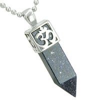 Ancient OM Amulet Magic Powers Crystal Point Lucky Charm Blue Goldstone Pendant 18 Inch Necklace