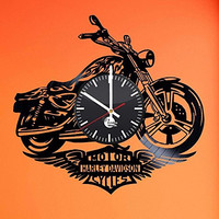Motorcycle Collectibles Vinyl Record Wall Clock - Get unique home wall decor - Gift ideas for boyfriend and father - Motorcycle Artwork Unique Design - Leave us a feedback and win your custom clock