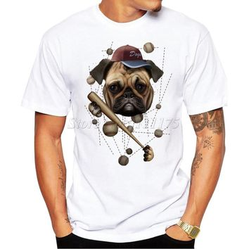2016 New Arrivals Fashion Baseball Dog Design Men's T Shirt Boy Cool Style Tops Casual T-shirt