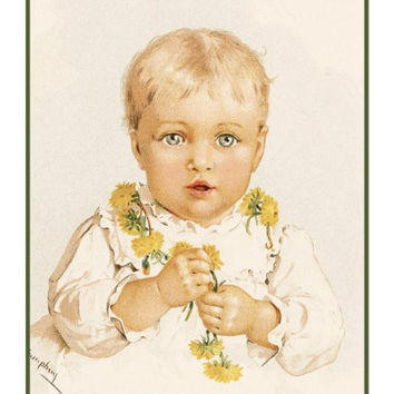 Child With a Dandelion Necklace by Maud Humphrey Bogart Counted Cross Stitch or Counted Needlepoint Pattern