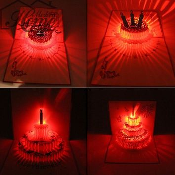 3D Laser Cut Pop Up Greeting Card LED Light Nest Fathers Mothers Day Birthday Christmas Music Postcard With Envelope Handmade
