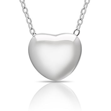 925 Sterling Silver Tiny Silver Heart Necklace, Floating Silver Heart Necklace, Simple Heart Charm