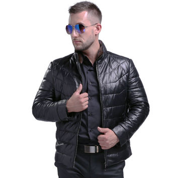Men's Fashion Genuine Sheepskin Down Leather Coat With Mink Fur Collar Winter Warm Real Leather White Duck Down Coat