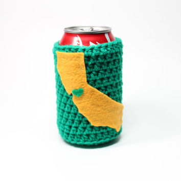 State Beer Koozie, California Accessories, Crochet Bottle Cozy, Green & Gold Coffee Cozy, Bay Area Drink Holder, Oakland Athletics Inspired