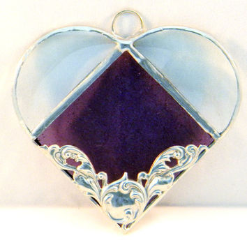 Stained Glass Heart Suncatcher, Amethyst  Purple and Silver, Home Decor, Wedding Favor, Housewarming Gift