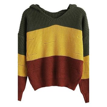 Hooded Knitted Chic Winter Striped Sweater