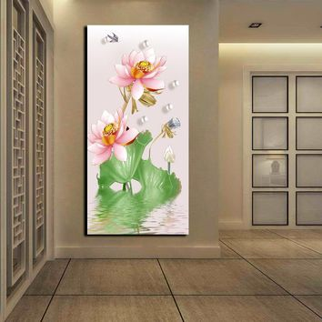 HD Print Chinese Lotus Flower Pictures Large Wall Art Home Decor Oil Painting On Canvas Sets Abstract Floral Poster and Prints
