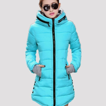 Women's cotton-padded jacket 2015 winter medium-long down cotton plus size jacket female slim ladies jackets and coats = 1929879044
