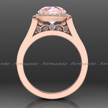 Morganite & Diamond Rose Gold Vintage Style Ring