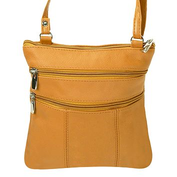 Genuine Leather Multi-Pocket Crossbody Purse Bag - Tan