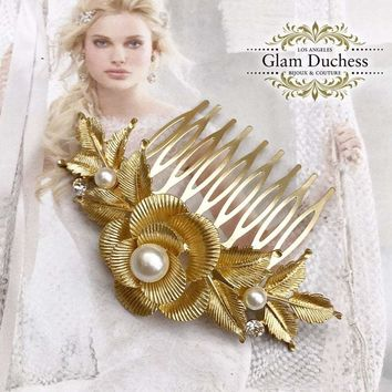 Gold Pearl Crystal Leaf Bridal Comb, Bridal Hair Comb