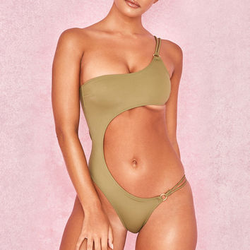 Clothing : Swimwear : 'Taj' Khaki Cut Out One Piece Swimsuit