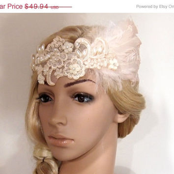 SALE 40% OFF Great Gatsby Dress Headpiece 1920s Flapper Headband headbands for 1920s dresses Champagne feather Vintage Headband