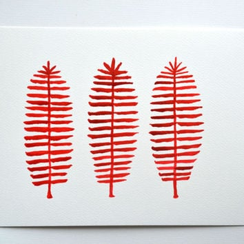 Original Red Ferns Painting, Minimalist Red Watercolor Ferns, Fall leaves Ink Drawing of Three Ferns, Leaf Painting