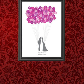Wedding Guest Book - Bride & Groom Guest Book Balloon - Wedding Keepsake - Guest Book Poster - Wedding Balloon Poster Board - Wedding Print