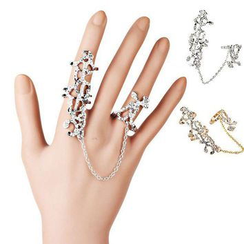 ac NOOW2 Rings Multiple Finger Stack Knuckle Band Crystal Set Womens Fashion Jewelry Conjoined personality rings 7cmx2.5cm #PY40