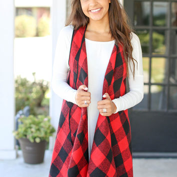 Buffalo Check Vest - Red and Black