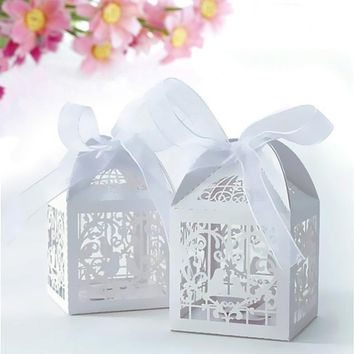 Hot Love Heart Favor Ribbon Gift Box Candy Boxes Wedding Party Decor 50Pcs