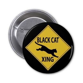 Black Cat Xing 2 Inch Round Button