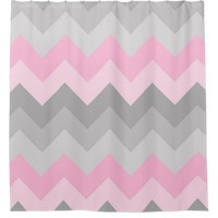 Pink Grey Gray Ombre Chevron Girl Bathroom Shower Curtain
