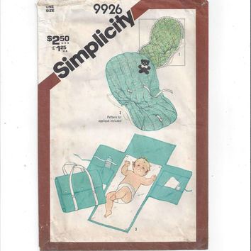 Simplicity 9926 Pattern for Babies' Travel Mat, Tote, Seat Cover, Diaper Change Pad, From 1981, Vintage Pattern, Home Sewing Pattern