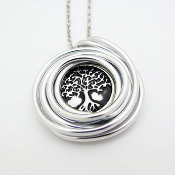 on sale Tree Necklace, Silver Tree Necklace, Unisex Pendant, Tree Jewelry, Tree Of Life Pendant, Wire Wrap Tree Of Life, Tree Family, Tree C