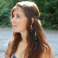 Iridescent Multi-Use Leather and Feather Headband, Belt, Necklace, etc