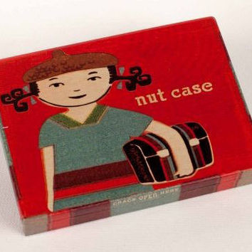Nut Case Tin Pocket Box in Retro Red
