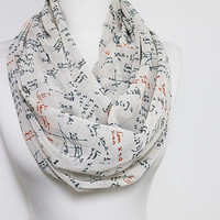 Mathematics Pattern Chiffon Infinity scarf, Circle scarf, Long Scarf, spring - fall - winter - summer fashion