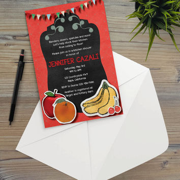 Instant Download - Chalkboard Kitchen Apple Banana Orange Bakery Rustic Cottage Shabby Chic Autumn Summer Party Invitation Template