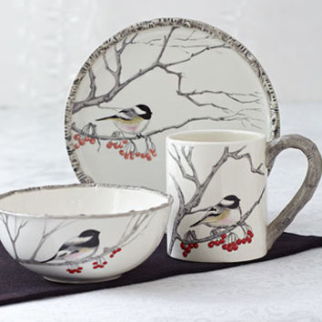 Winter Chickadee Tableware | Dinnerware | Stonewall Kitchen - Specialty Foods, Gifts, Gift Baskets, Kitchenware and Kitchen Accessories, Tableware, Home and Garden Décor and Accessories
