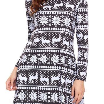 Black White Snowflake Long Sleeve Christmas Dress