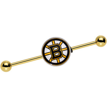 Licensed NHL Gold Anodized Boston Bruins Industrial Barbell 38mm